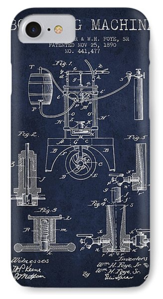 1890 Bottling Machine Patent - Navy Blue IPhone Case by Aged Pixel