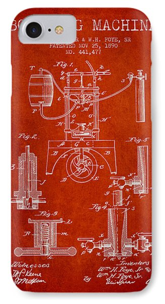 1890 Bottling Machine Patent - Red IPhone Case by Aged Pixel