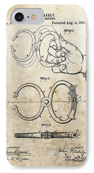 1891 Handcuffs Patent IPhone Case by Dan Sproul