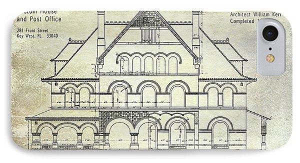 1891 Key West Blueprint Of The Custom House IPhone Case by Jon Neidert