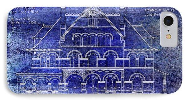 1891 Key West Custom House Blueprint IPhone Case by Jon Neidert