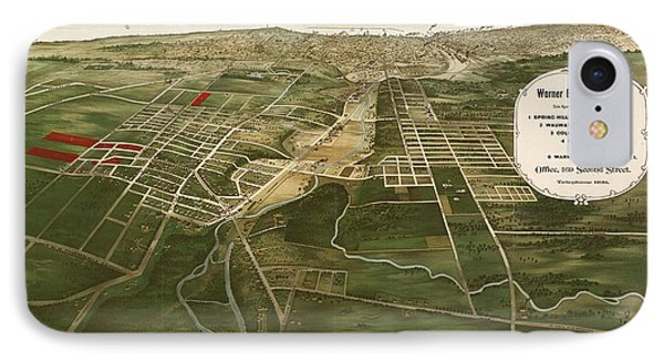 1892 Aerial Map Of Wauwatosa Wisconsin IPhone Case