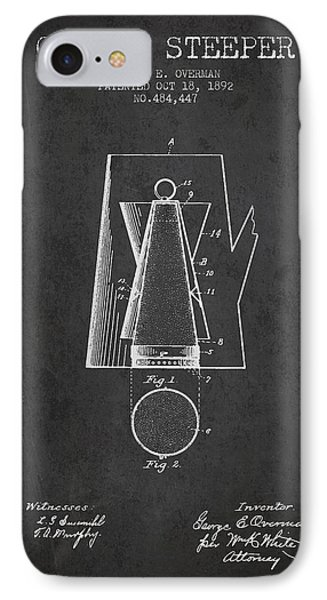 1892 Coffee Steeper Patent - Charcoal IPhone Case by Aged Pixel