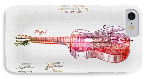 1893 Stratton Guitar Patent - Color IPhone Case by Aged Pixel