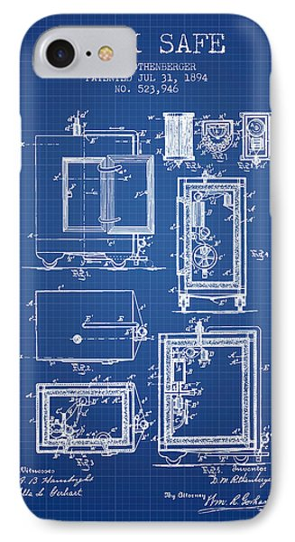 1894 Bank Safe Patent - Blueprint IPhone Case by Aged Pixel