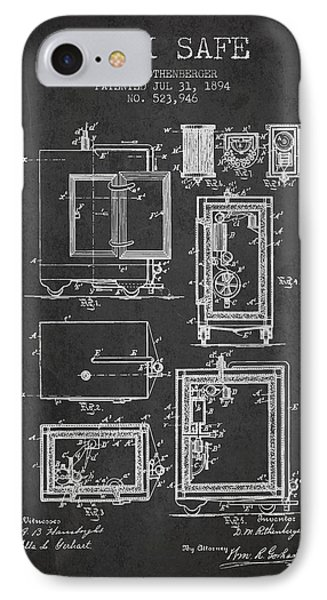1894 Bank Safe Patent - Charcoal IPhone Case by Aged Pixel