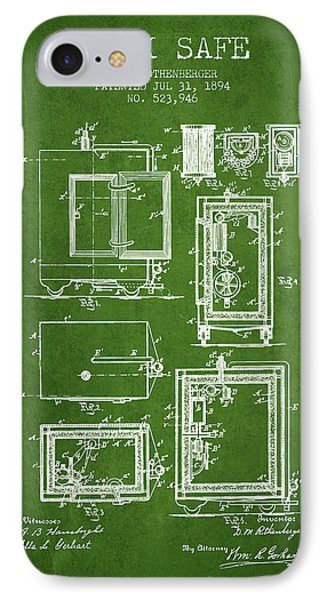 1894 Bank Safe Patent -green IPhone Case by Aged Pixel