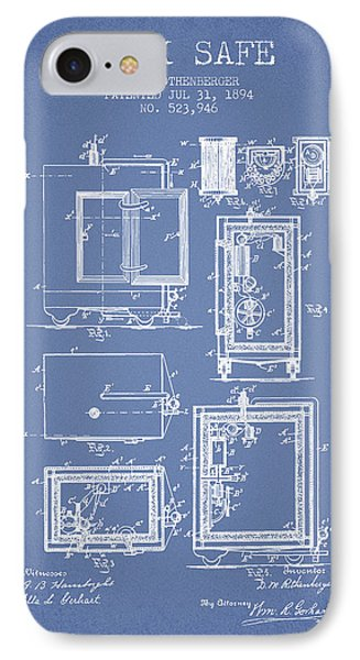 1894 Bank Safe Patent -light Blue IPhone Case by Aged Pixel