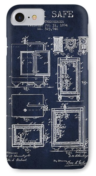 1894 Bank Safe Patent - Navy Blue IPhone Case by Aged Pixel