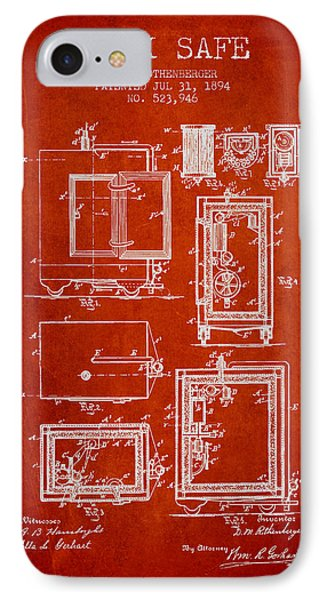 1894 Bank Safe Patent - Red IPhone Case by Aged Pixel