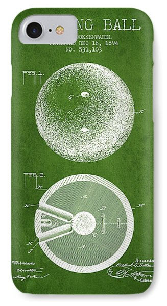 1894 Bowling Ball Patent - Green IPhone Case
