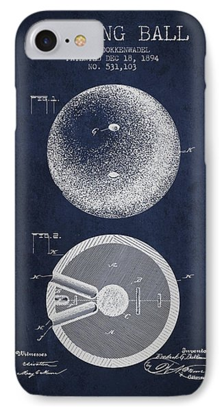 1894 Bowling Ball Patent - Navy Blue IPhone Case