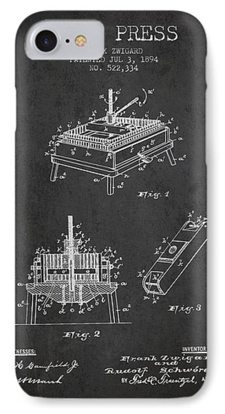 1894 Wine Press Patent - Charcoal IPhone Case by Aged Pixel