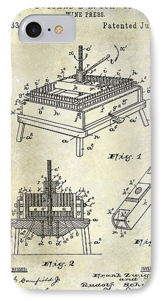 1894 Wine Press Patent IPhone Case by Jon Neidert