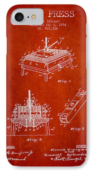 1894 Wine Press Patent - Red IPhone Case by Aged Pixel