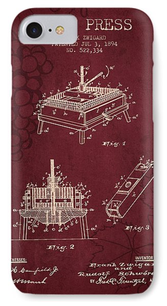 1894 Wine Press Patent - Red Wine IPhone Case by Aged Pixel