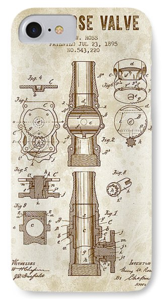 1895 Fire Hose Valve Patent - Vintage Brown IPhone Case by Aged Pixel