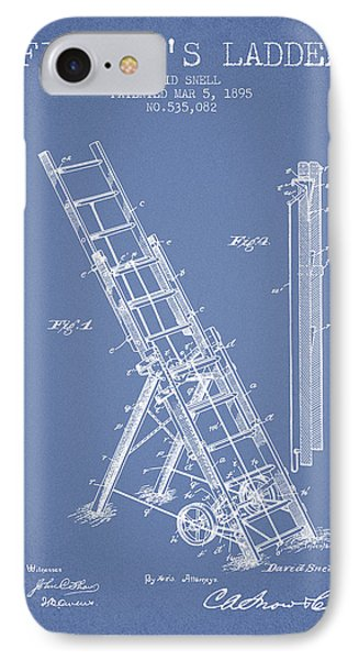 1895 Firemans Ladder Patent - Light Blue IPhone Case by Aged Pixel