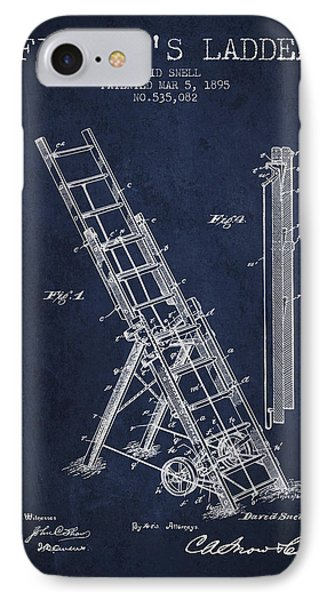 1895 Firemans Ladder Patent - Navy Blue IPhone Case by Aged Pixel