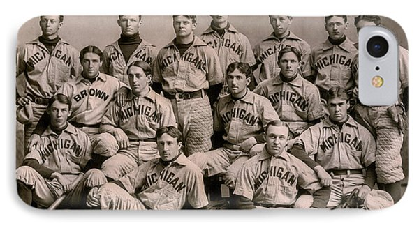 University Of Michigan iPhone 7 Case - 1896 Michigan Baseball Team by Jon Neidert