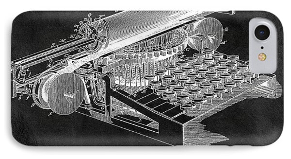 1896 Typewriter Patent Illustration IPhone Case