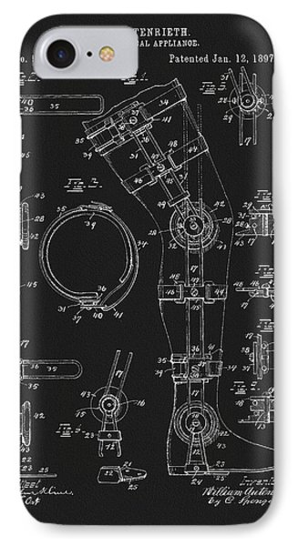 1897 Artificial Leg Patent IPhone Case by Dan Sproul
