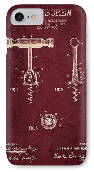 1897 Corkscrew Patent Drawing - Red Wine IPhone Case by Aged Pixel