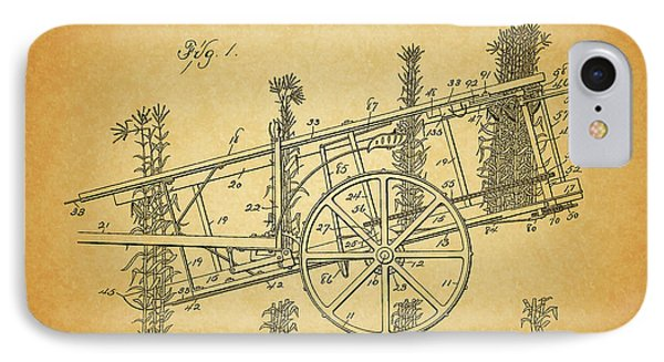 1898 Corn Harvester Patent IPhone Case by Dan Sproul