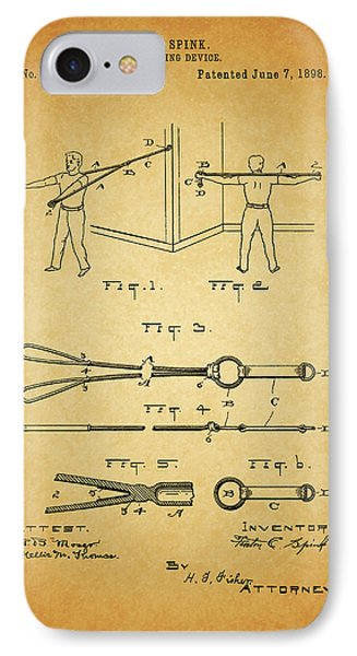 1898 Exercising Device Patent Illustration IPhone Case by Dan Sproul