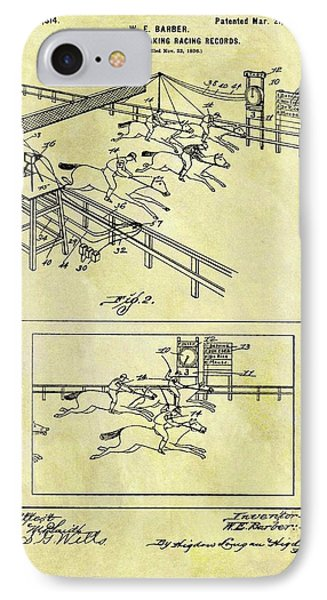 1899 Horse Racing Track Patent IPhone Case by Dan Sproul