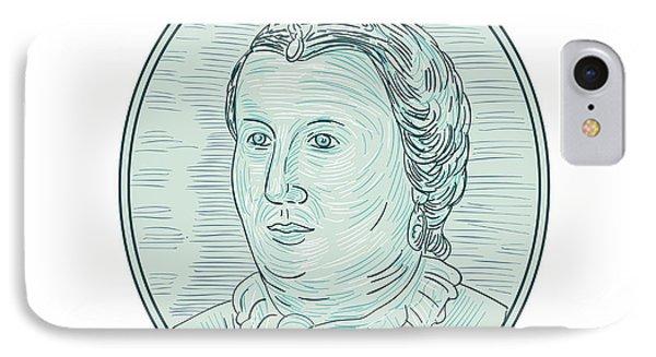 18th Century European Empress Bust Oval Drawing IPhone Case by Aloysius Patrimonio