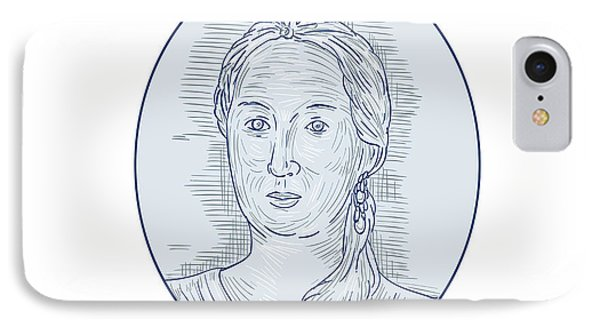 18th Century Russian Empress Bust Oval Drawing IPhone Case by Aloysius Patrimonio