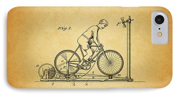 1900 Bicycle Exercise Stand IPhone Case by Dan Sproul