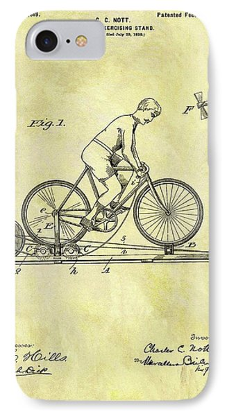 1900 Exercising Bicycle Patent IPhone Case by Dan Sproul