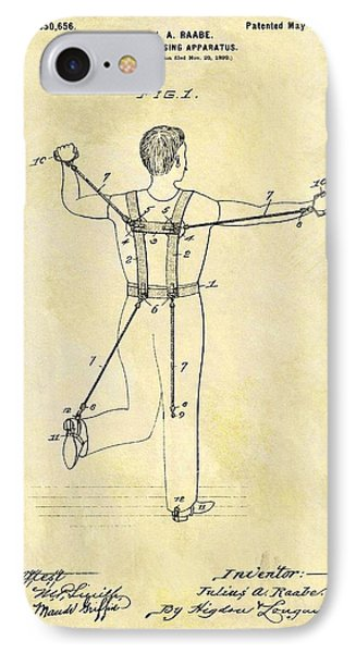 1900 Exercising Machine Patent IPhone Case by Dan Sproul