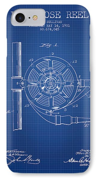1901 Fire Hose Reel Patent - Blueprint IPhone Case by Aged Pixel