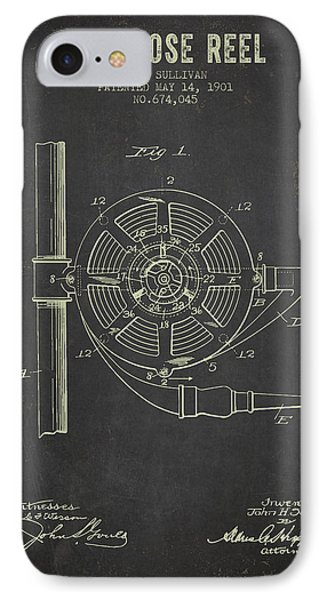 1901 Fire Hose Reel Patent- Dark Grunge IPhone Case by Aged Pixel