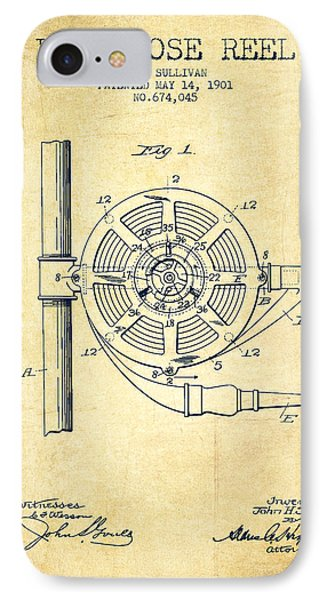 1901 Fire Hose Reel Patent - Vintage IPhone Case by Aged Pixel
