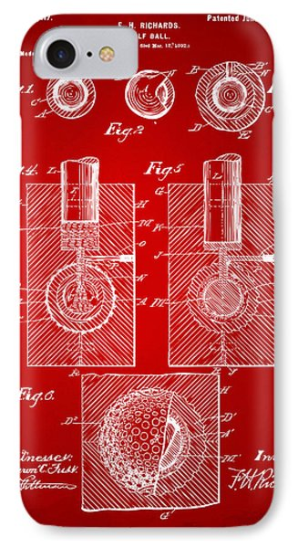 1902 Golf Ball Patent Artwork Red IPhone Case by Nikki Marie Smith