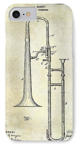 1902 Trombone Patent IPhone 7 Case by Jon Neidert