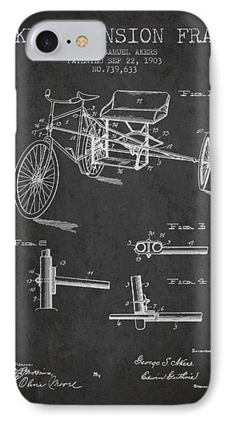 1903 Bike Extension Frame Patent - Charcoal IPhone Case by Aged Pixel