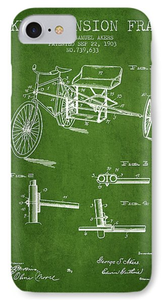 1903 Bike Extension Frame Patent - Green IPhone Case by Aged Pixel