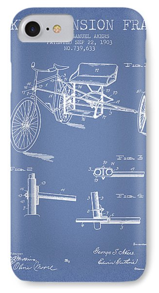 1903 Bike Extension Frame Patent - Light Blue IPhone Case by Aged Pixel