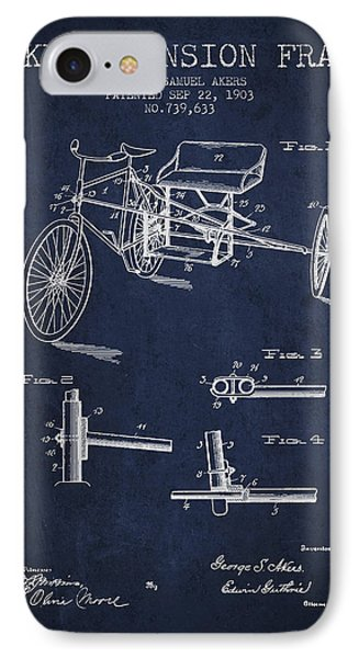 1903 Bike Extension Frame Patent - Navy Blue IPhone Case by Aged Pixel