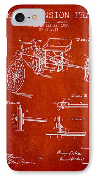 1903 Bike Extension Frame Patent - Red IPhone Case by Aged Pixel