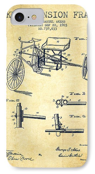1903 Bike Extension Frame Patent - Vintage IPhone Case by Aged Pixel