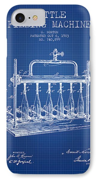 1903 Bottle Filling Machine Patent - Blueprint IPhone Case by Aged Pixel