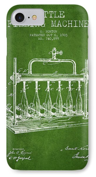 1903 Bottle Filling Machine Patent - Green IPhone Case by Aged Pixel