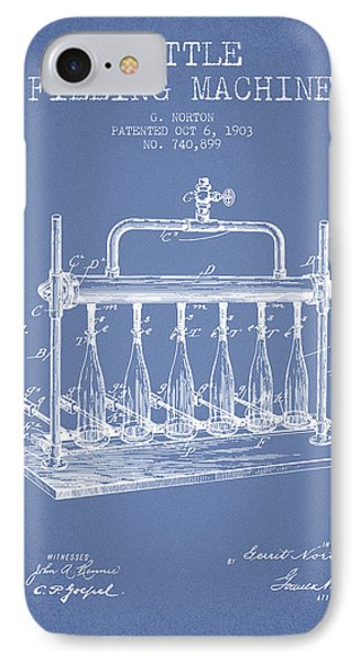 1903 Bottle Filling Machine Patent - Light Blue IPhone Case by Aged Pixel