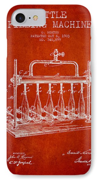 1903 Bottle Filling Machine Patent - Red IPhone Case by Aged Pixel